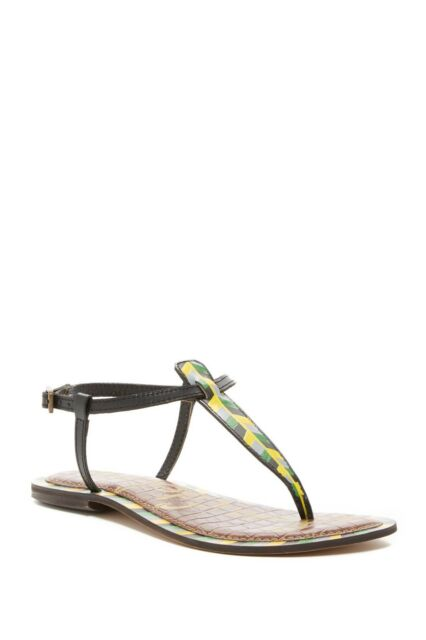 5b954986d73093 NEW Sam Edelman Gigi Black Painted Leather Thong Sandal Women Size ...
