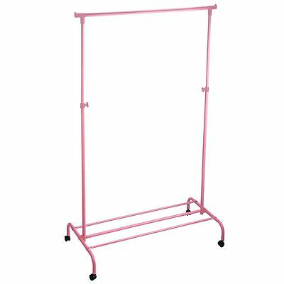 Single Garment Rack Pink Clothes Portable Hanging Rail Wheels By Home Discount
