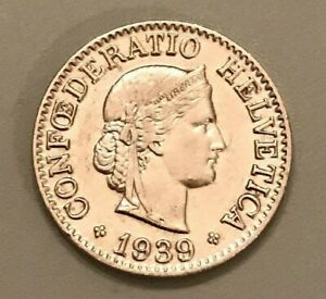 1939 Switzerland 10 Rappen - Out of Circulation Swiss Coin