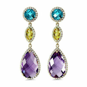 Gorgeous-Drop-Earrings-for-Women-925-Silver-Jewelry-Cubic-Zircon-A-Pair-set