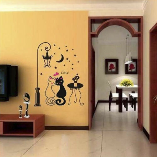 Removable Cartoon Wall sticker Cat under Street Light Baby room Decor