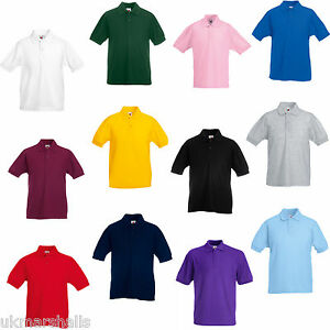 60a571043 3 FRUIT OF THE LOOM KIDS POLO SHIRTS ALL SIZES 11 COLS