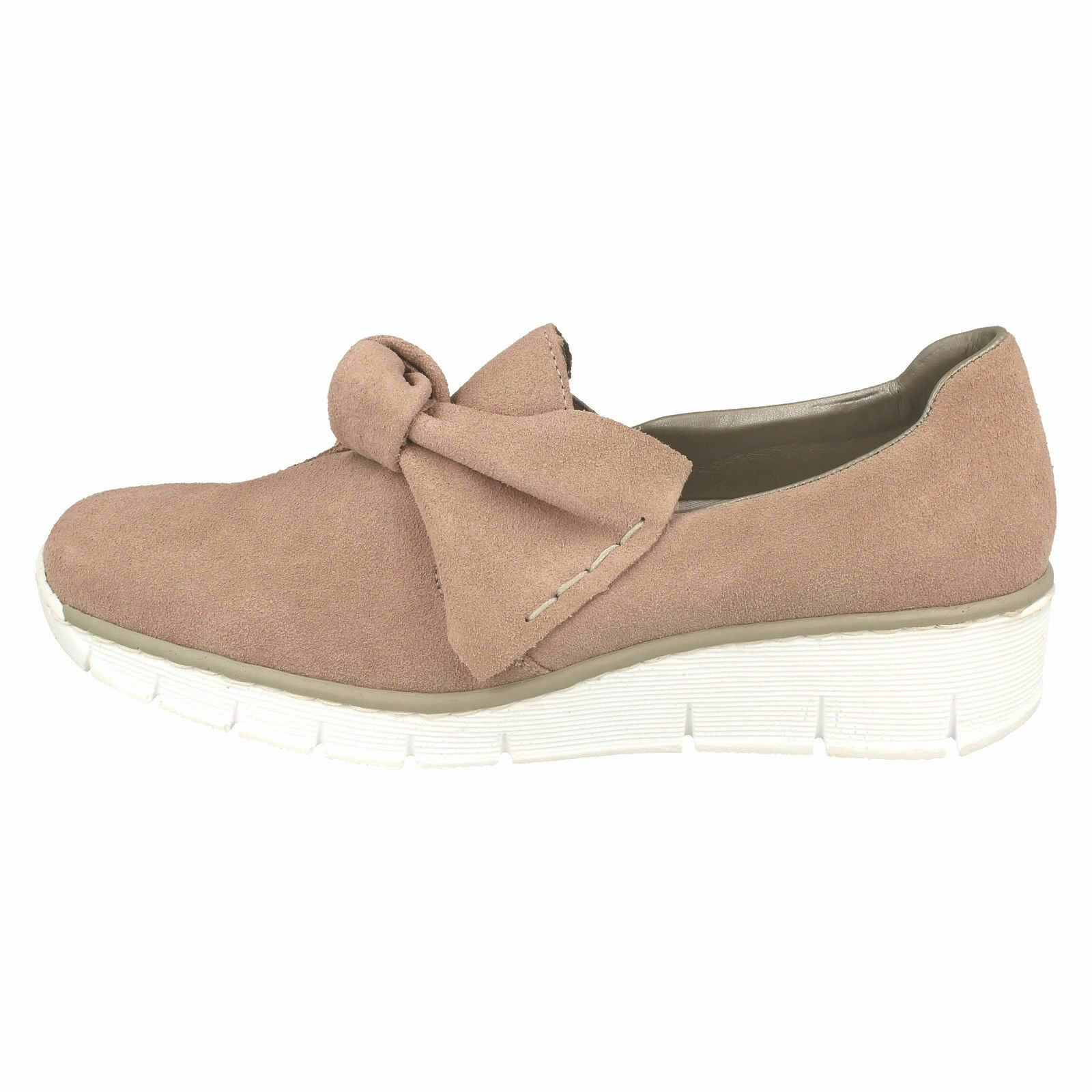 537Q4 LADIES RIEKER BOW FRONT SUEDE SLIP ON LOW LOW LOW WEDGE HEEL SMART CASUAL SHOES 5b3dd7
