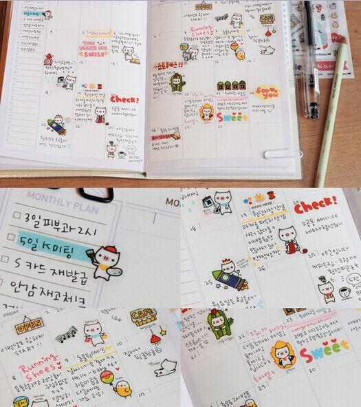 6 Sheet Pig Calendar Diary Book Sticker Lovely Scrapbook Decoration Transparent