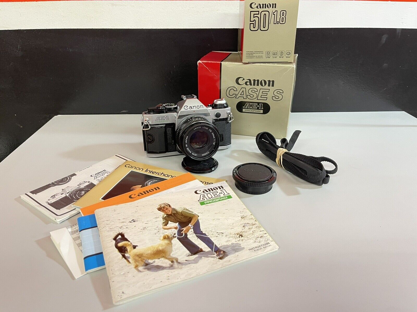 Canon AE-1 Program Camera with Wide to Short Telephoto Lens Vintage Working 1980s 35MM Film SLR with Hippy Neck Strap and Free Shipping