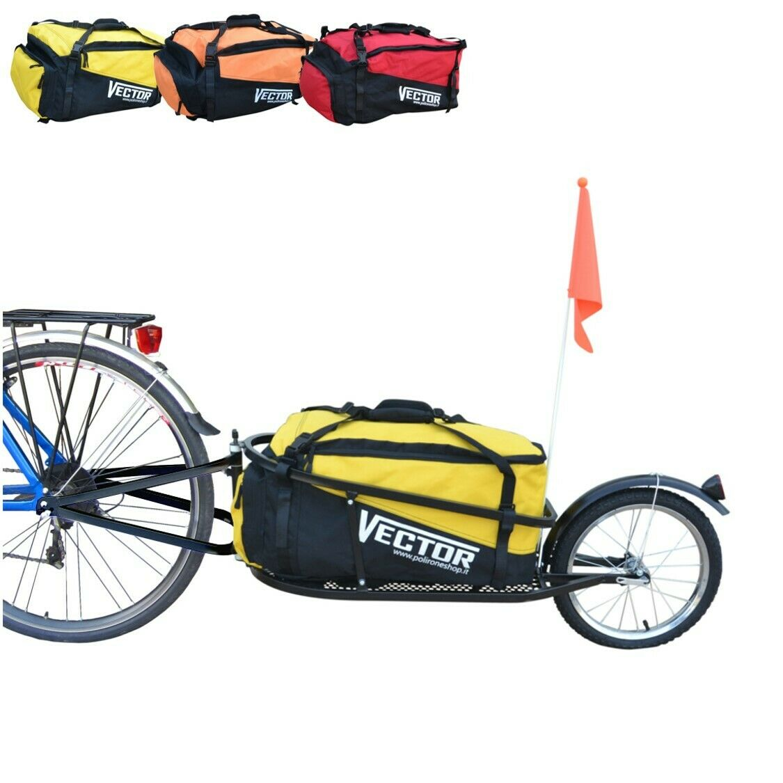 Vector remolque para bicicleta remolque para cargas remolque monociclo remolque equipaje con bolso