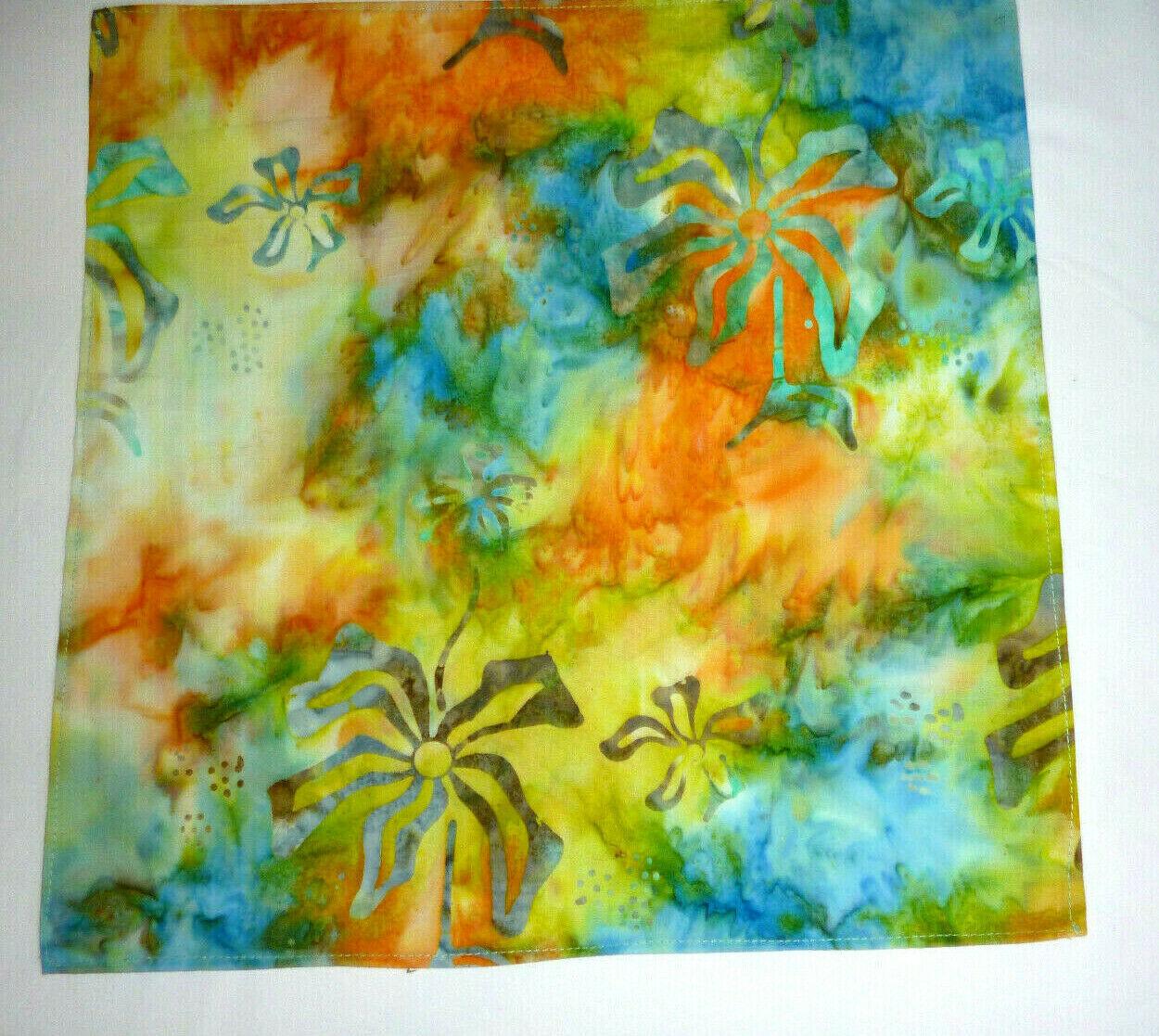 Pure cotton mens top pocket handkerchief Blue/orange/yellow abstract pattern NEW