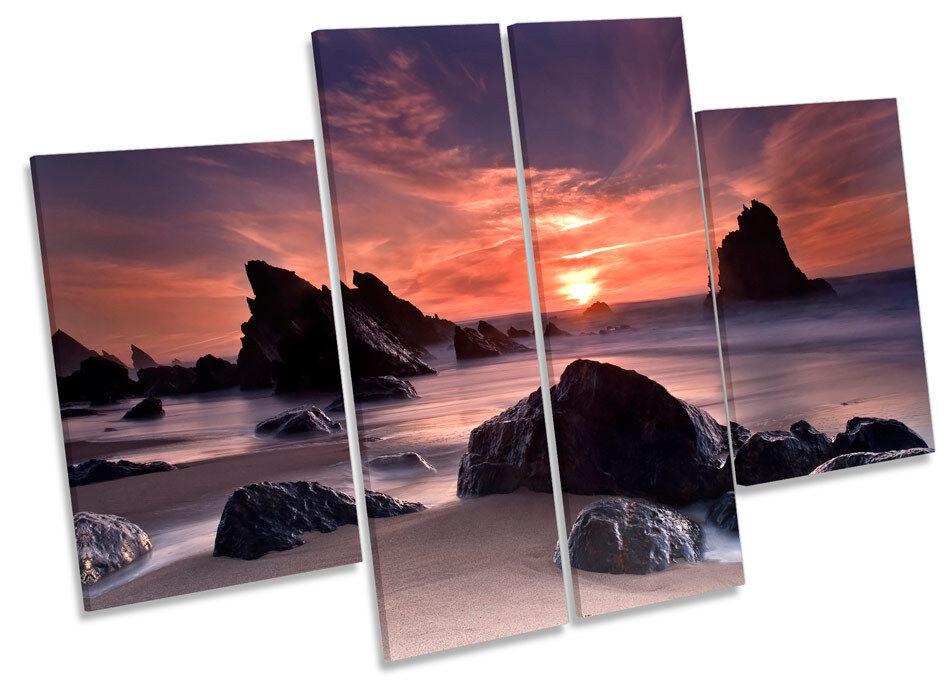 Sunset Beach Seascape Cove CANVAS CANVAS CANVAS WALL ART MULTI Panel Picture Print d3264c