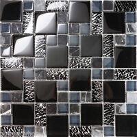Sample Black Pattern Metallic Glass Marble Stone Mosaic Tile Kitchen Backsplash