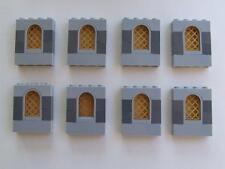 8  New Lego City Town Castle Ship House Window Bricks + Gold Panes Bulk Lot Set
