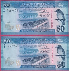 Sri-Lanka-50-Rupees-Note-2010-Original-UNC-First-series-Low-serial-pair-Rare