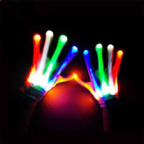 LED Flashing Finger Light Up Gloves Colorful Lighting For Dance Halloween Fun