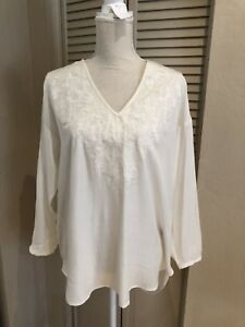 H-amp-M-Long-sleeve-ivory-white-Blouse-floral-embroidered-size-6