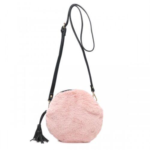 New Women Fluffy Faux Fur Round Clutch Bag Chain Come Purse Light Tassel Handbag