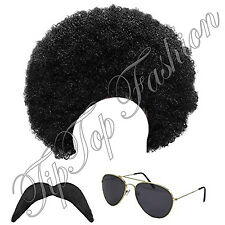 New 1980s 80s Scouser Black Afro Wig,Moustache and Aviator Sunglasses FancyDress