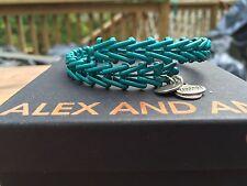 BOX & CARD ALEX and ANI TEAL VINTAGE GYPSY 66 SILVER Beaded Wrap BRACELET