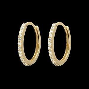0-12-TCW-Diamond-Huggie-Hoop-Earrings-14K-Yellow-Gold-Over-Round-VVS1