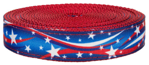 5 Yards Country Brook Design® 3//4 Inch Star Spangled on Red Nylon Webbing