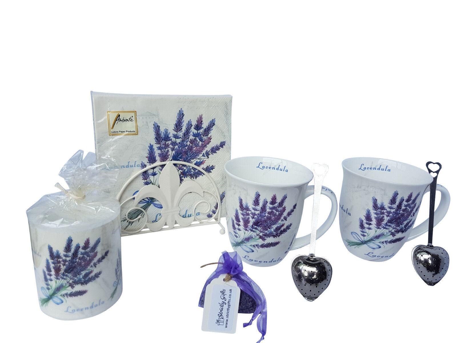 Lavendel Design für Zwei Becher Kerze Geschenkset Feinstes Porzellan für Sie | Erste Qualität  | Förderung