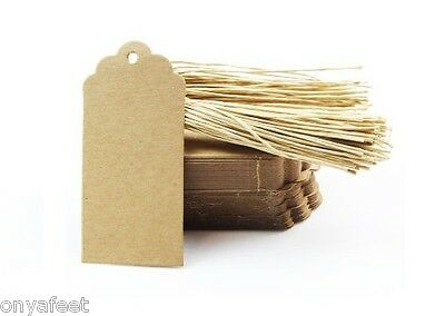BROWN WHITE KRAFT WEDDING STRING TWINES GIFT PAPER TAGS WITH TWINE 25 50 100 PCS
