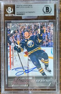 2015-2016-UPPER-DECK-Jack-Eichel-AUTO-BGS-cracked-Case-YOUNG-GUNS-RC-ROOKIE-LEAF