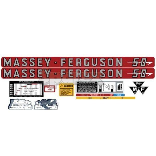 Massey Ferguson Mf Fabriqué 50 MF50 Tracteur Ensemble Complet Autocollant Fabriqué Mf aux 6c0351