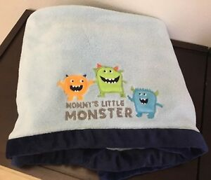 CARTERS-BLUE-BABY-LOVEY-BLANKET-mommy-039-s-little-monsters-navy-soft-40x30-034