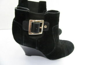 9681ca4009bb04 Image is loading TORY-BURCH-BLACK-SUEDE-ANKLE-BOOTS-WITH-WEDGE-