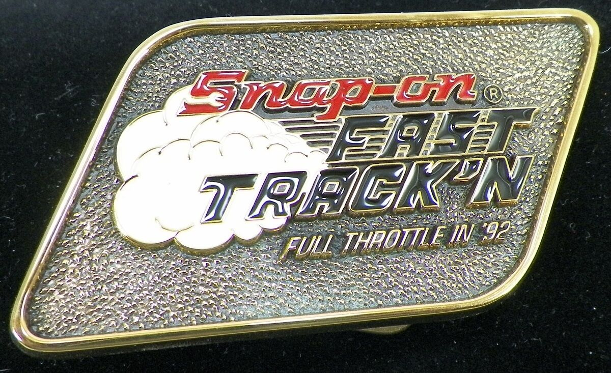 MENS SNAP ON FAST TRACK'N FULL THROTTLE IN '92 BELT BUCKLE SOLID BRASS USA -A2