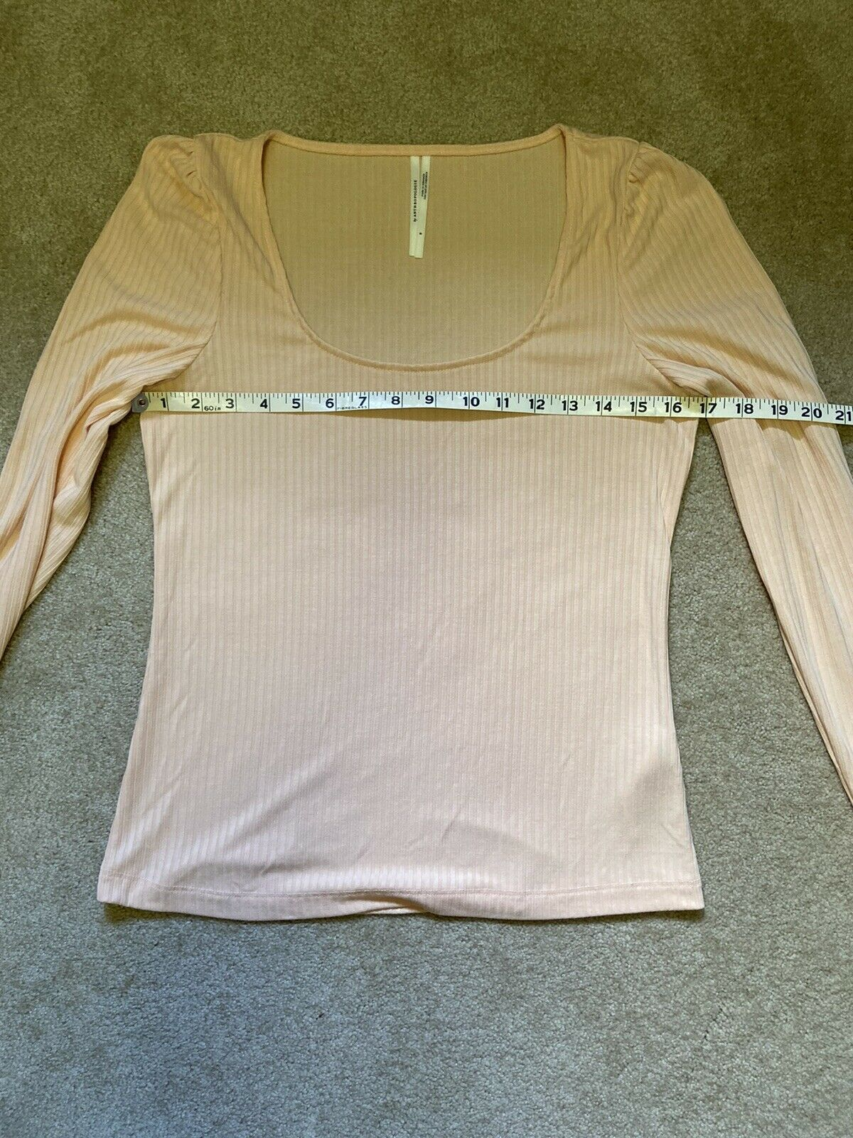 Anthropologie Size Small Peach Ribbed Long Sleeve… - image 9