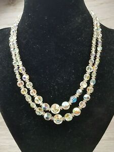 Vintage-2-Strand-Clear-Faceted-AB-Glass-Crystal-Necklace-Rhinestone-clasp-Kawaii