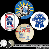 Pabst Blue Ribbon Set Of 4 Buttons Or Magnets Or Mirrors Pinback Pbr Beer 1018