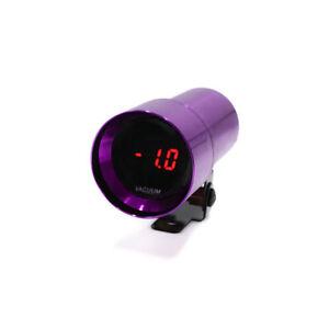 37mm Car Vacuum Gauge Smoke Lens Red LED Micro Digital Boost Meter Bar Purple