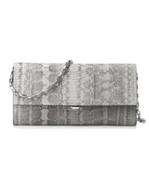 73ef090994f2 Michael Kors Collection Yasmeen LG Clutch crossbody Cement Snake ORG ...