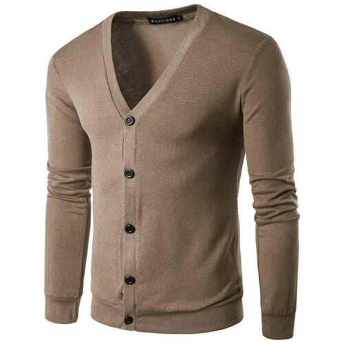 Mens Plain Knitted V Neck Button Cardigan Fine Cotton Knitwear Jumper Warm Tops