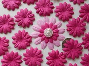 "100! Mulberry Paper Flower Petal Blossom - Lovely Fuchsia Pink Daisy - 2.5cm/1"""