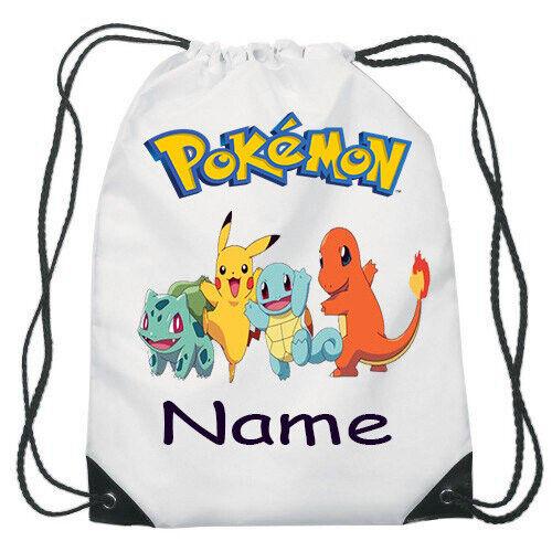 Pokemon Go Pikachu Drawstring Gym Bag School Backpack Personalised Name