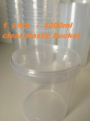 1 L Ltr Litre Plastic Clear Transparent Bucket with Lid for Storage Food Sweets