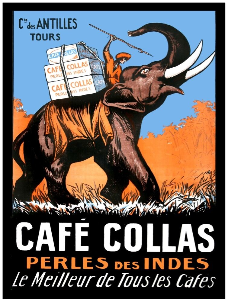 9625.Cafe Collas.perles des indues.elephant.POSTER cor Home Office art