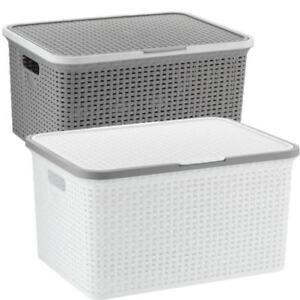 bo te de stockage avec couvercle coffre rangement caisse empilable pile panier ebay. Black Bedroom Furniture Sets. Home Design Ideas