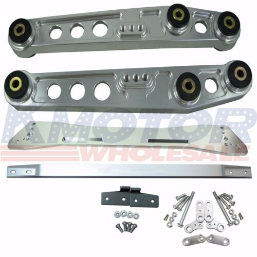 SILVER REAR SUBFRAME BRACE LOWER CONTROL ARM SET SUSPENSION KIT FOR CIVIC ACURA