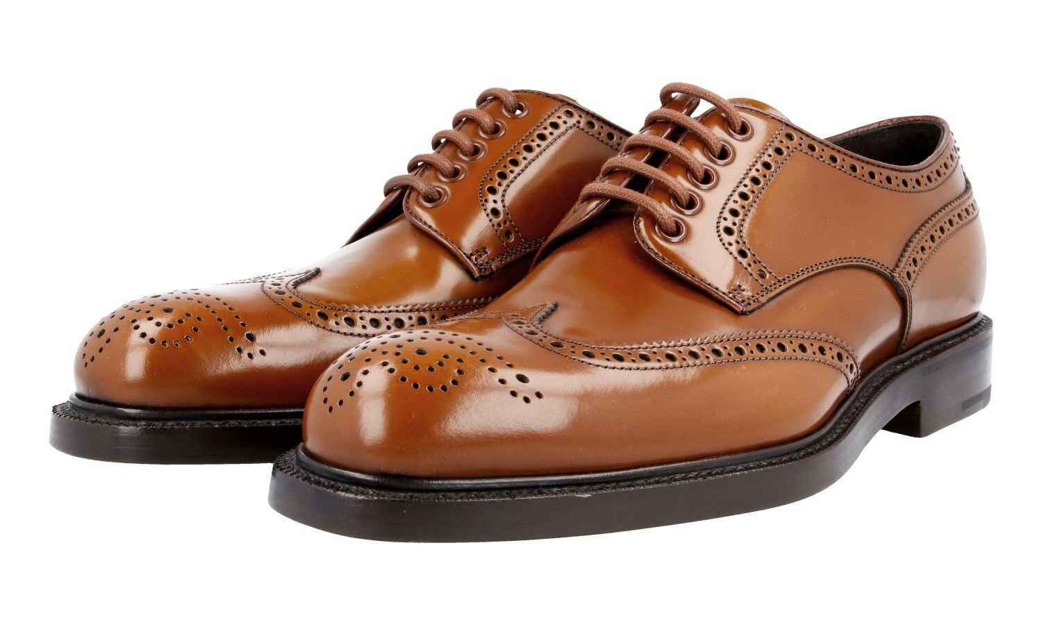 L SO PRADA Wingtip DERBY Full Brogue     2ea069 MARRONE NUOVO NEW 10 44 44,5 85e5e5