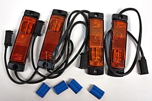 x4 LED Umrissleuchte Umrißleuchte gelb 130x14.5x32 mm mit Kabel Schnellkupplung
