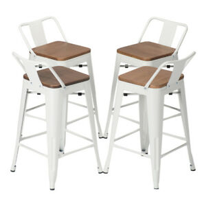 Details About Set Of 4 Metal Bar Stool 24 Counter Stools Low Back Barstool Wooden Seat White