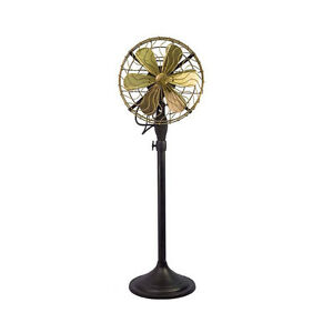 12-034-Brass-Blade-Electric-Floor-Stand-Fan-Oscillating-Vintage-Metal-Antique-style