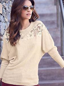 Oatmeal Lace Panel Super soft Raglan Sleeve Knitwear Size 22-24 Ecru