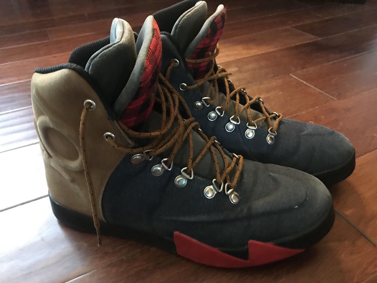 Nike 621177-400 KD VI Mens Blue Denim Ale Brown Red Lifestyle Casual Boots Sz 10