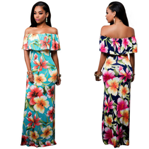 Women Bodycon Off Shoulder Dress Party Evening Flower Slim Casual Loose Prom