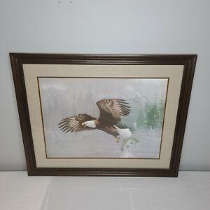 Vintage Jim Oliver BALD EAGLE Framed Print -Signed and Embossed by the artist