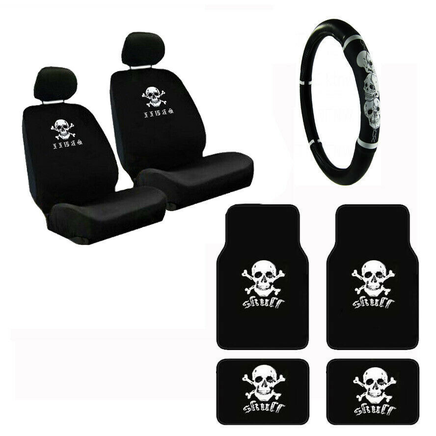 Tremendous Crossbones White Skull Car Seat Covers Steering Wheel Cover Floor Mats 9Pc Set Pabps2019 Chair Design Images Pabps2019Com